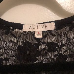 Forever 21 Tops - Lace black crop top with exposed back short sleeve